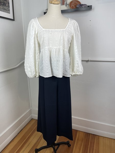 [pre-loved] Just Female Puff Sleeve Blouse - white