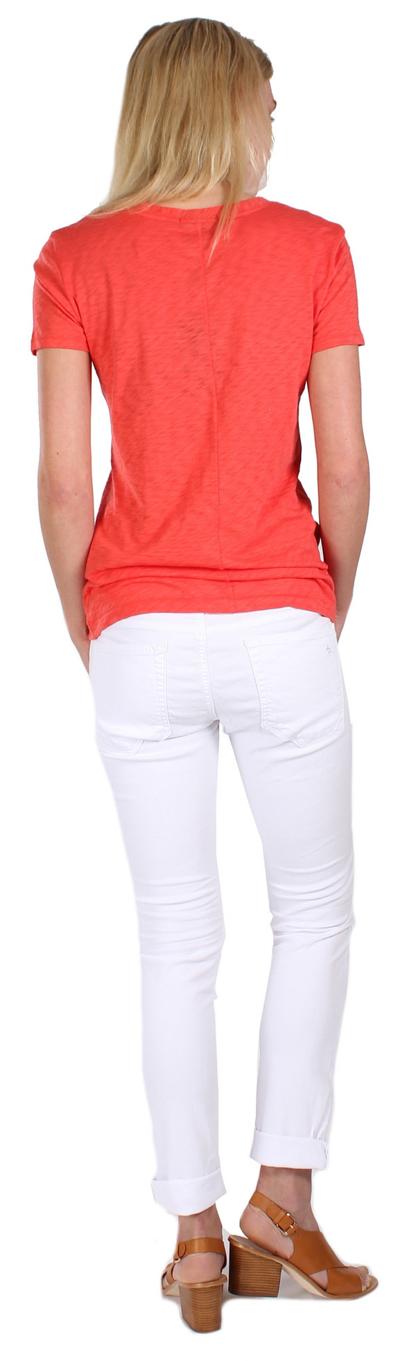 Classic V Neck Tee in Vintage Red