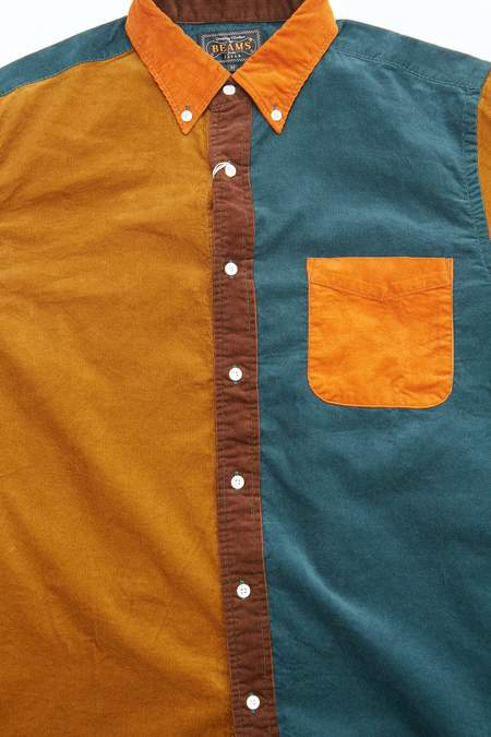 Beams Plus B.D. Panel 21W Corduroy Shirt - ORANGE Collar