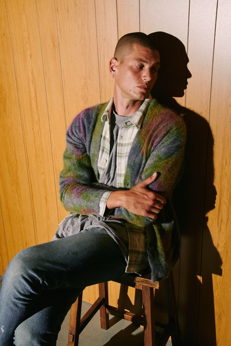 John Elliott Angora Cardigan - CHARCOAL SKITTLES