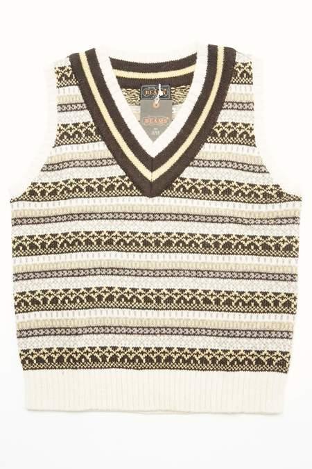 Beams Plus GIM Fair isle Cricket sweater - NATURAL