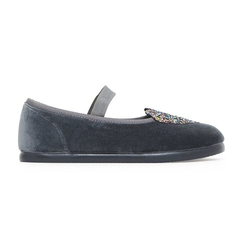 kids bonton heart mary janes shoes - grey