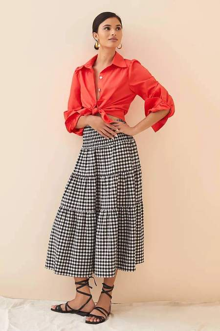 Eva Franco Pointed Collar Puff Sleeve Button Up Shirt - Red