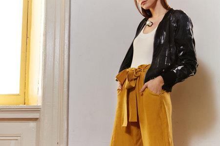KAMPERETT Le Tour Silk Linen Paperbag Pant - Marigold