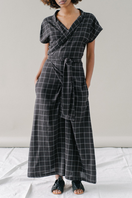REIFhaus Ramona Wrap Jumpsuit in Grid Print