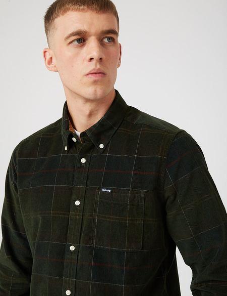 Barbour Blair Tailored Cord Shirt - Classic Tartan Green