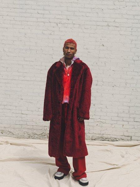 Marni  Faux Fur Oversized Coat - Burgundy