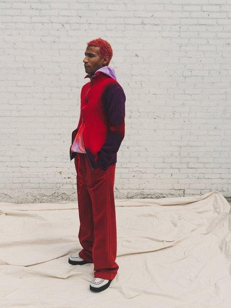 Marni Wavy Zip Cardigan - Red/Purple Tye Dye