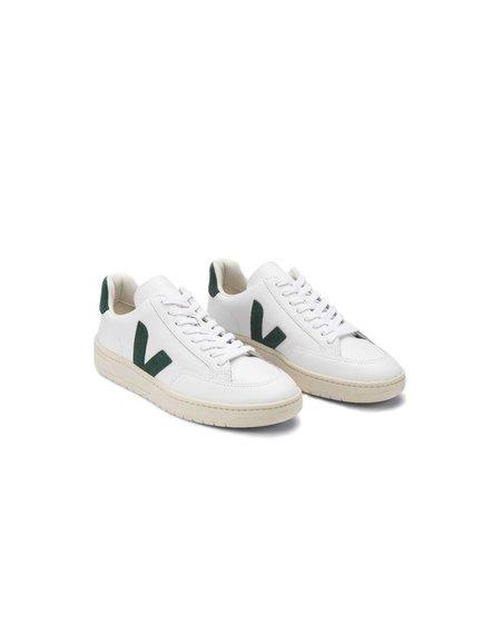 VEJA V-12 Leather Shoes - White/Cyprus