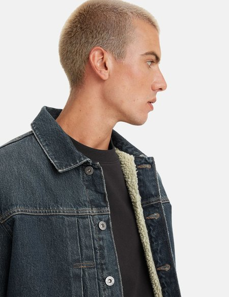 Levis Made & Crafted Type II Sherpa Jacket - Medium Indigo Blue