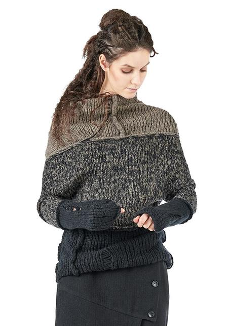 Studio B3 Trilaro Asymmetric Paneled Hand-Knit Pullover - KNIT MIX