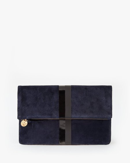 Clare V. Foldover Clutch w. Tabs - Navy Suede