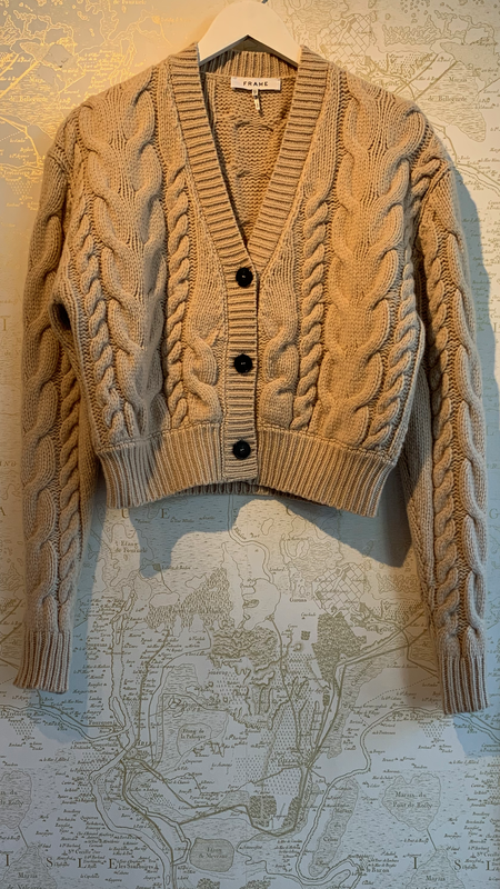 FRAME Denim Cropped Cable Knit Cardigan - oatmeal
