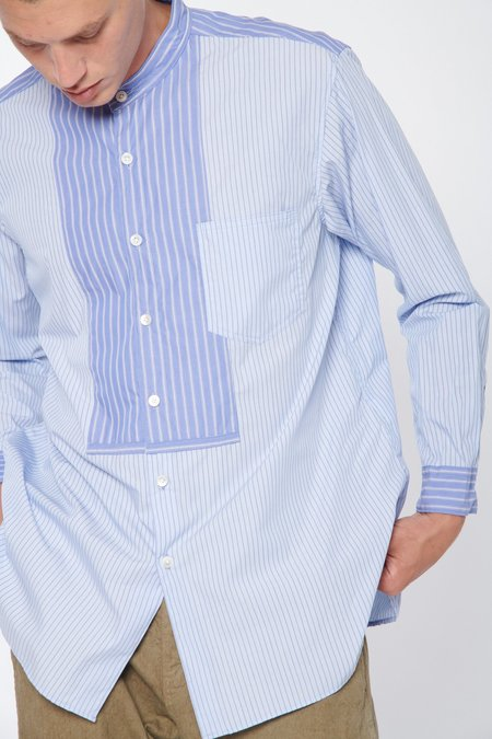 Sage de Cret Design Seam Banded Collar Shirt - Small Stripe