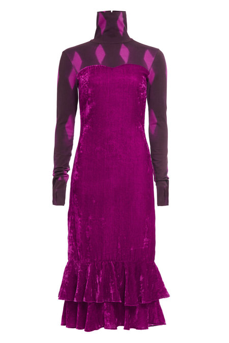 Abacaxi Velvet Turtleneck Dress