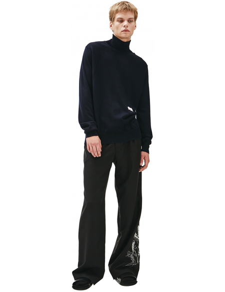 OAMC Blue wool turtleneck with embroidery - Navy blue