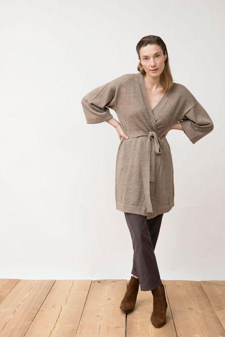 Jungle Folk Rita Knit Kimono - misty beige