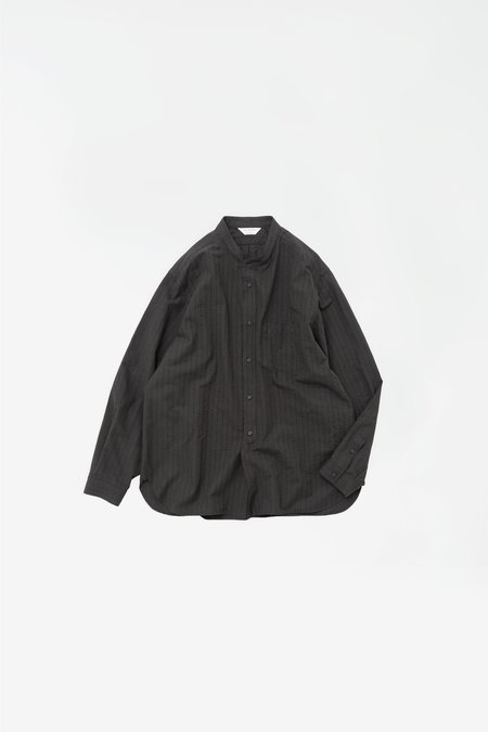 Still By Hand Striped band collar shirt - ink black