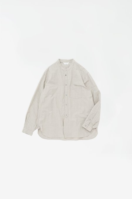 Still By Hand Striped band collar shirt - taupe