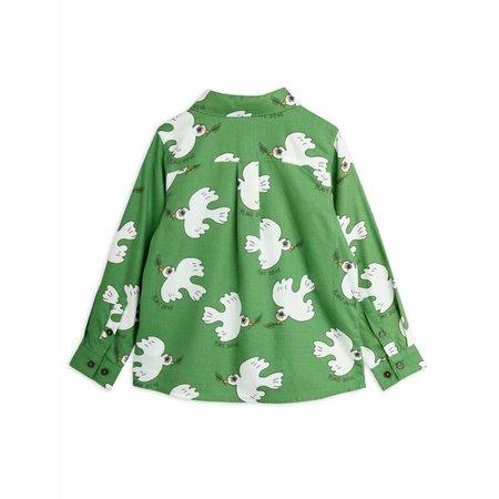 kids mini rodini dove woven shirt - green