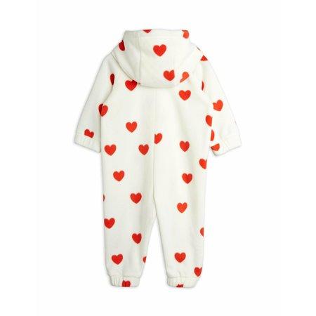 kids mini rodini hearts fleece onesie - off white