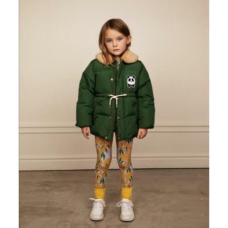kids mini rodini panda puffer jacket - dark green