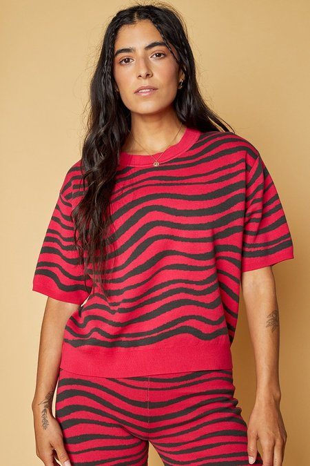 Back Beat Co. Organic Cotton Tidal Knit Tee - red