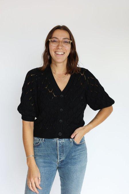 Autumn Cashmere Puff Sleeve Pointelle Cardigan - Black