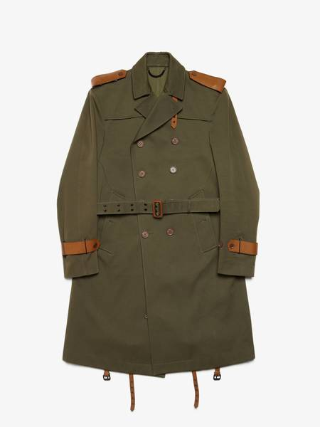 Burberry Prorsum Leather Detailed Double Breasted Cotton Coat - Khaki