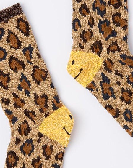 Kapital 84 Yarns Smilie Heel Leopard Socks - Beige