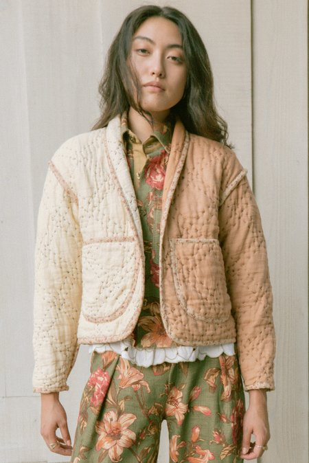 Jess Meany Two-Tone Linen Juniper Cropped Coat - BROWN/ivory
