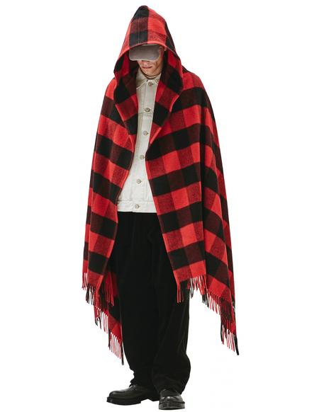 Balenciaga Hooded Poncho - Black/Red