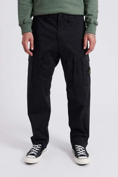 Stone Island Stretch Cotton Wool Satin Loose Fit Cargo Pants - Black