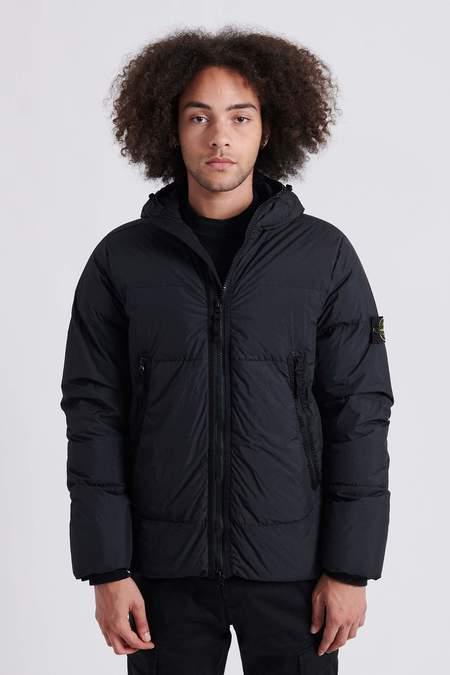 Stone Island 40123 Garment Dyed Crinkle Reps Nylon Hooded Down Jacket - Black
