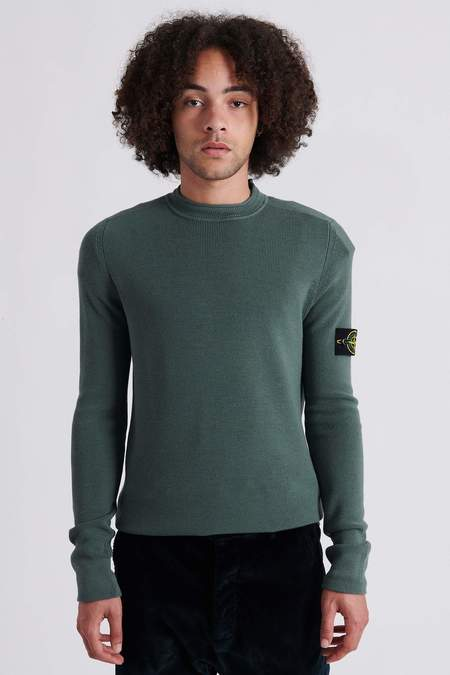 Stone Island 560C2 Full Rib Wool Crew Neck Knit Sweater - Sage