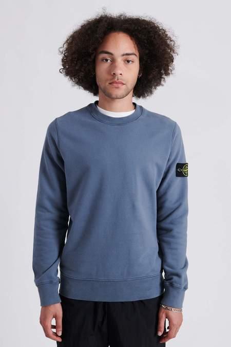 Stone Island Brushed Cotton Fleece Crew Neck Sweat Shirt - Mid Blue