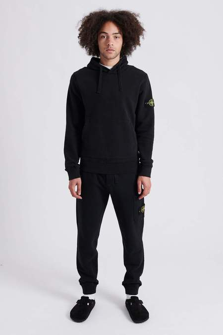 Stone Island Brushed Cotton Fleece Hooded Sweat Shirt - Black