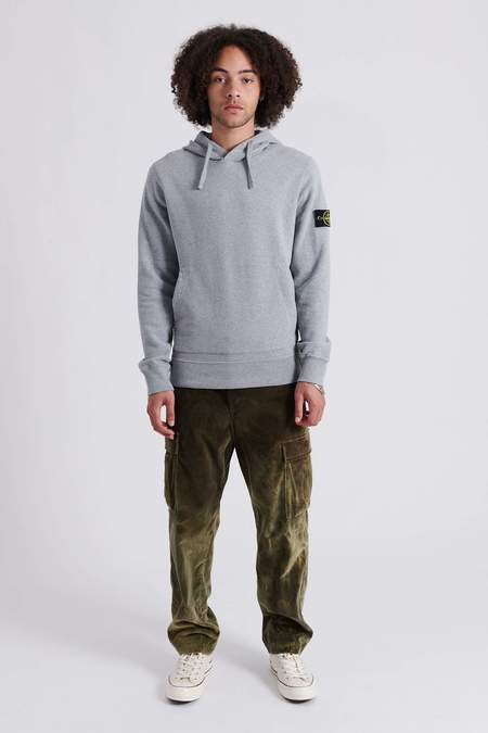 Stone Island Brushed Cotton Fleece Hooded Sweat Shirt - Melange Grey