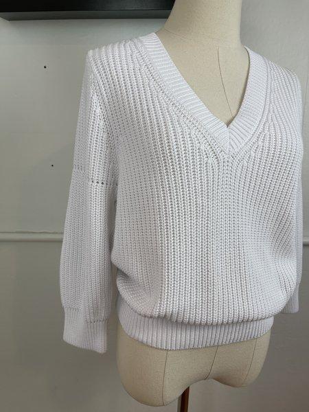 [pre-loved] Repeat Cotton V-Neck Sweater - white