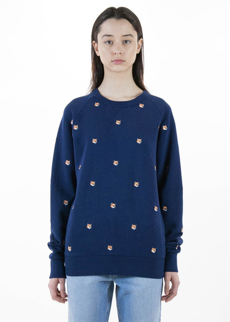 Maison Kitsune All Over Fox Head Embroidery Sweatshirt