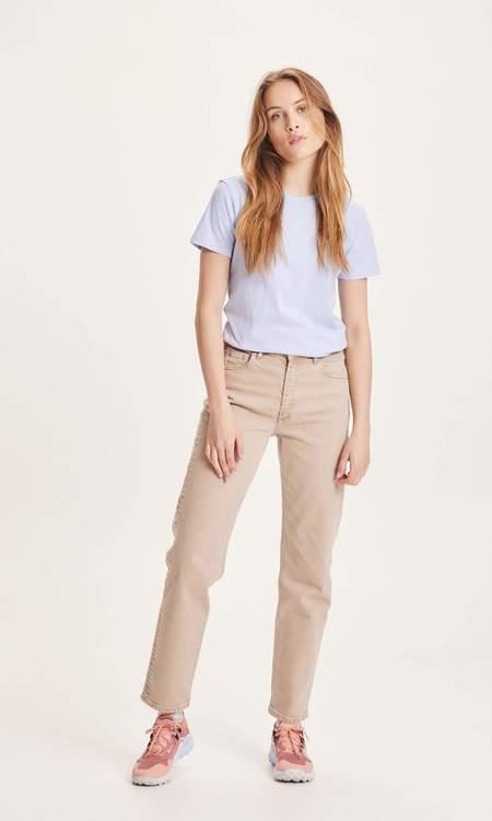 knowledge cotton apparel stella straight twill pants - Brown