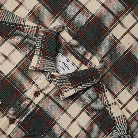 Portuguese Flannel St. Patrick Plaid Flannel Field Shirt - Cream/Forest Green