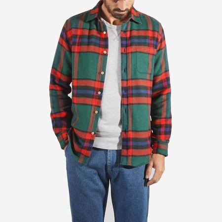 Portuguese Flannel Winter Blanket Big Check Flannel Shirt - Forest Green/Red