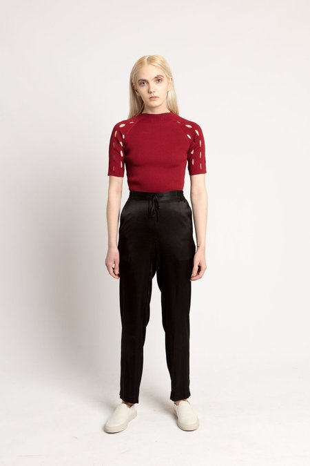 Nomia Red Combo Sleeve Mockneck