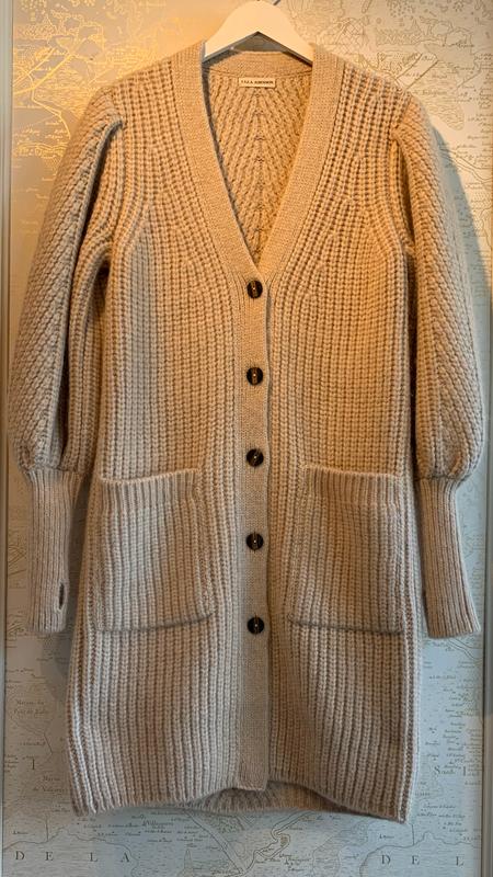 Ulla Johnson Aidan Puff Sleeve Long Cardigan - Gray