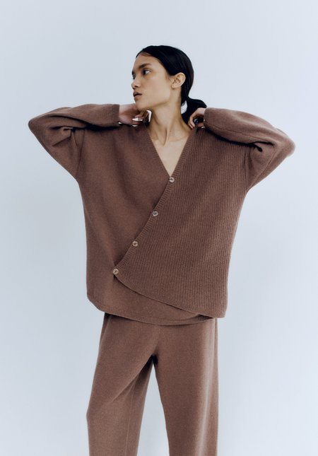 Mónica Cordera Baby Alpaca Assymetrical Sweater -  Cognac
