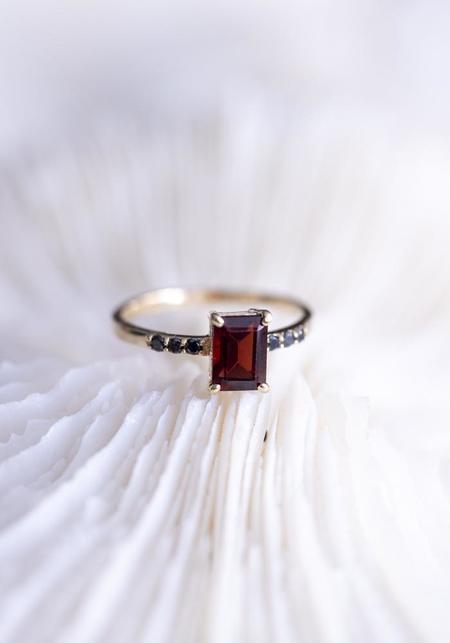 Lindsay Lewis Fine Garnet and Black Diamonds Vela Ring
