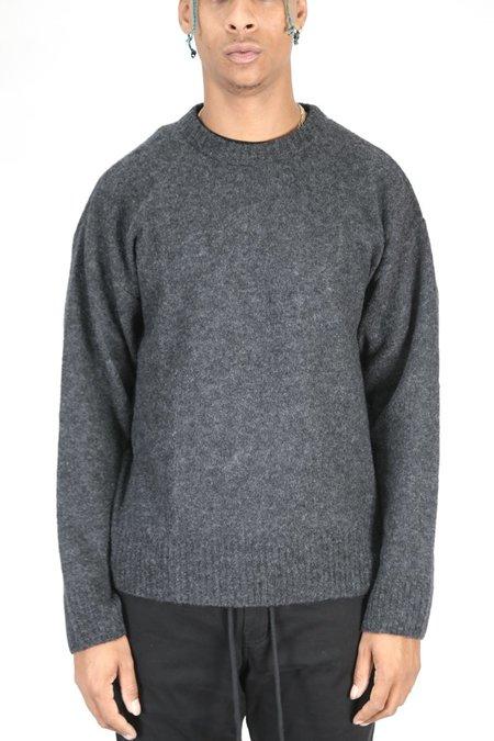 John Elliott Wool Powder Knit Crew - Charcoal