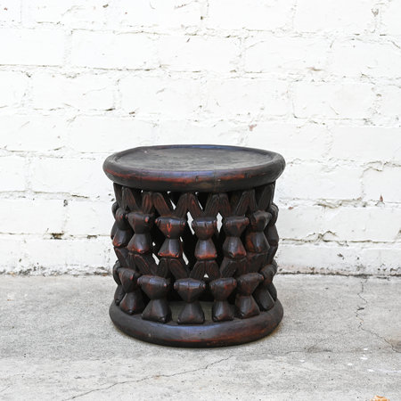 Made Solid Unique Bamileke Stool - Brown