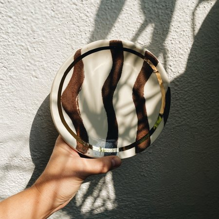 The Object Enthusiast Wavy Inlay Plate - Terracotta/Gold